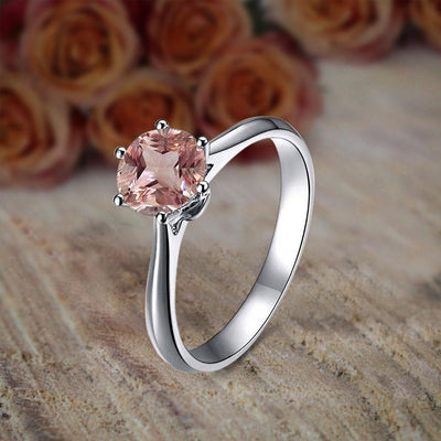 1 Carat Round Cut Morganite and Diamond Solitaire Engagement Ring for Women in 10k White Gold