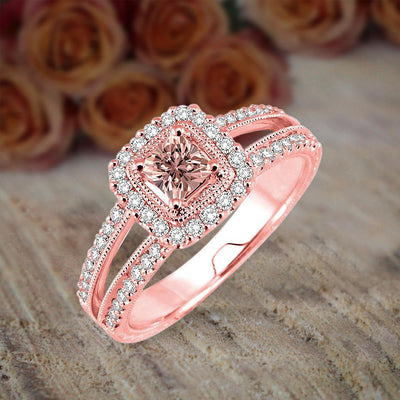 1.50 carat Morganite and Diamond Engagement Ring Halo Ring for Women in 10k Rose Gold