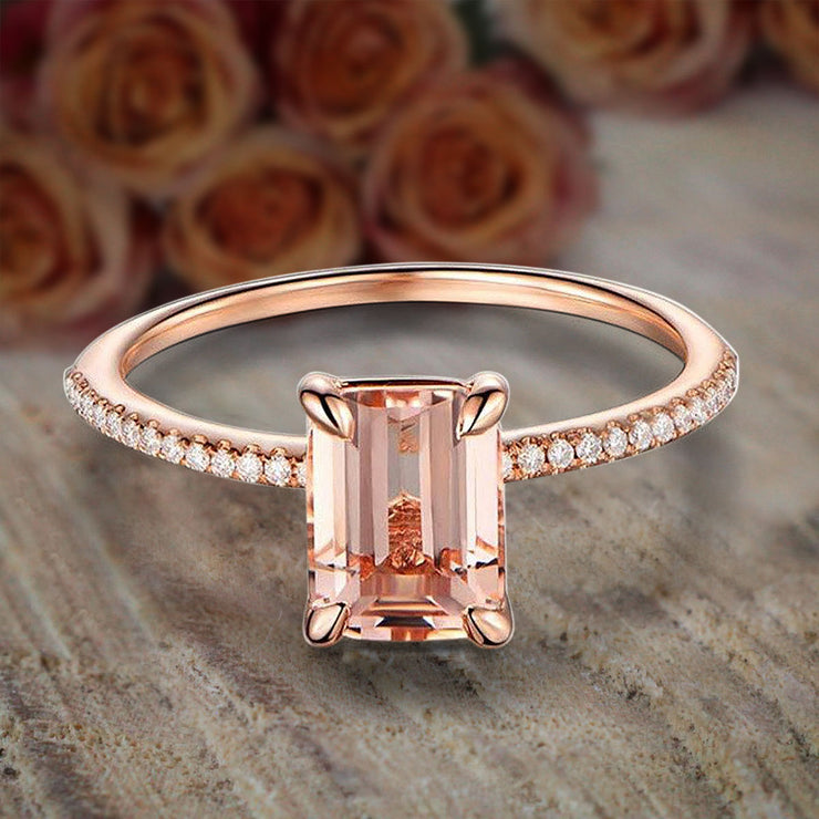 Limited Time Sale: 1.25 Carat Emerald Cut Morganite and Diamond Engagement Ring in 10k Rose Gold