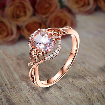 Sale 1.25 Carat Oval Cut Morganite and Diamond Engagement Ring Wedding Ring in 10k Rose Gold Jewelry