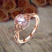 Sale 1.25 Carat Oval Cut Morganite and Diamond Engagement Ring Wedding Ring Jewelry