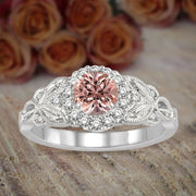 1.25 Carat Morganite Round cut Diamond Engagement Ring in 10k White Gold Ring Huge Desinger Sale