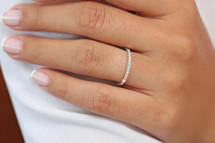Stunning Half Eternity Baguette and Round Moissanite Diamond Stackable Promise Ring Engagement Ring Wedding Band