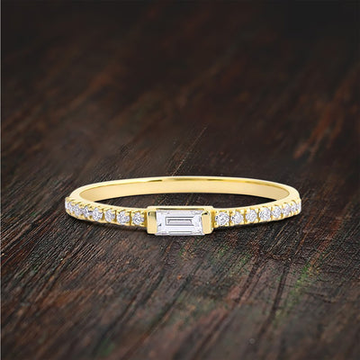 Art Deco Stackable Baguette Ring with Moissanite Diamond on Solid Gold Setting