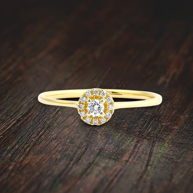 0.50 Carat Classic Halo Round Moissanite Engagement Ring on Solid Gold setting