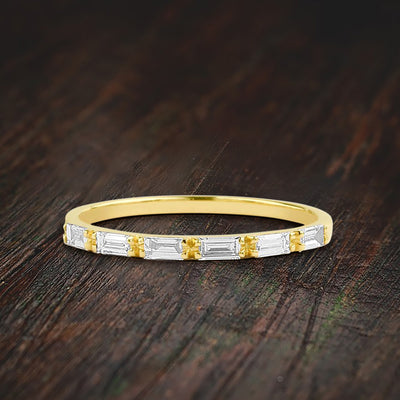 0.50 Carat Baguette Moissanite Wedding Band Engagement Ring Stackable Ring Promise ring on 10k Gold
