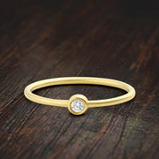 Perfect Promise Ring in Bezel setting Moissanite Diamond on 10k Gold