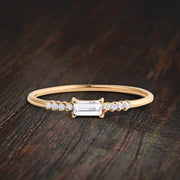 Classic Baguette and Round Diamond Moissanite Engagement Ring on 10k Gold