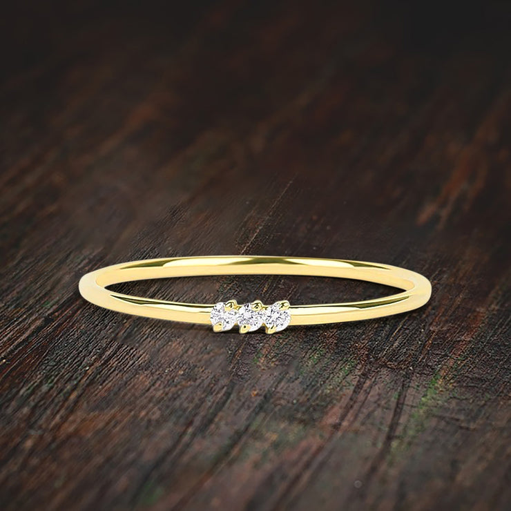 Stunning 3 Stone Moissanite Diamond Engagement Ring Stackable Ring Promise Ring on Solid 10k Gold