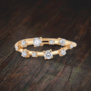 Stackable Moissanite Diamond Engagement Ring Wedding Band 10k Gold