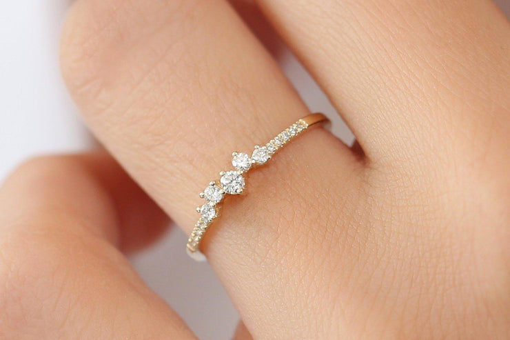 0.25 Carat Round Moissanite Diamond Stackable Engagement Ring Wedding Band