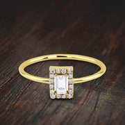 0.50 Carat Baguette Moissanite Diamond Halo Engagement Ring 10k Gold