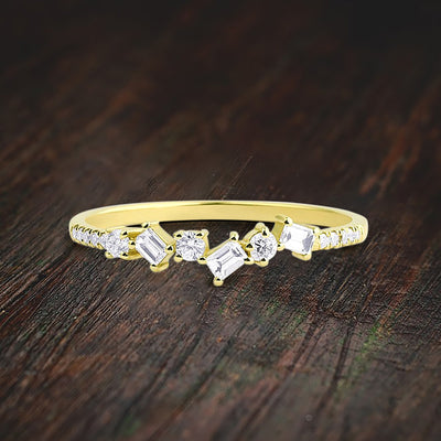 Modern Baguette and Round Diamond Moissantie Engagement Ring on 10k Gold