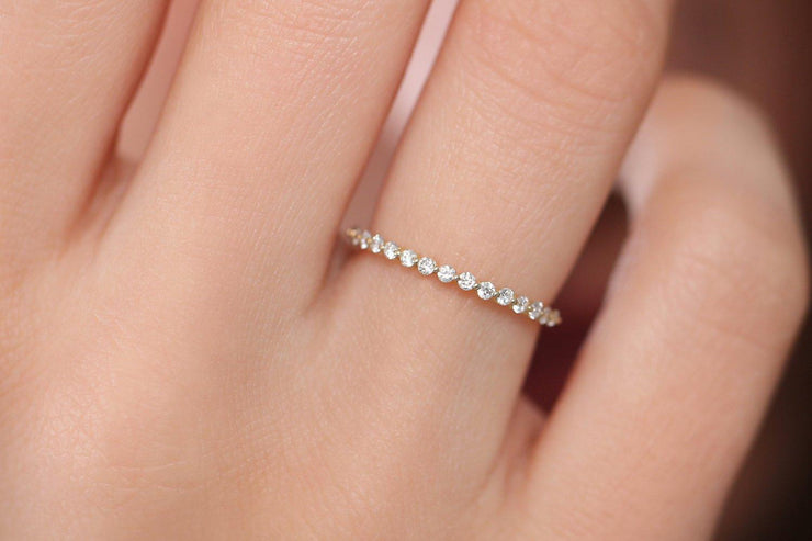 Stunning Round Diamond Moissanite Wedding Band Promise Ring Anniversary Gift 10k Gold