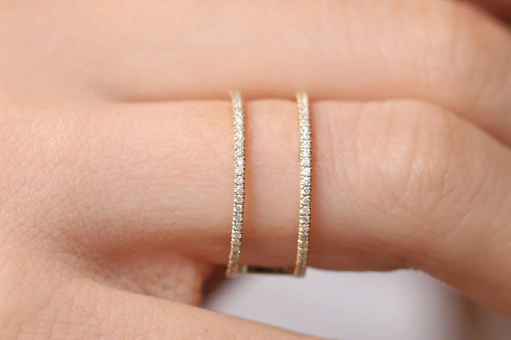 Double Decker Stunning Modern Engagement Ring Promise Ring Moissanite Diamond 10k Gold
