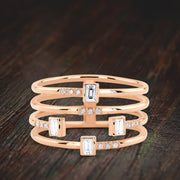 Stackable 4 Ring Set Moissanite Diamond Baguette and Round Diamonds on 10k Gold