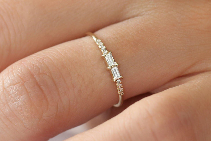 Adorable Baguette and Round Diamond Moissanite Engagement Ring