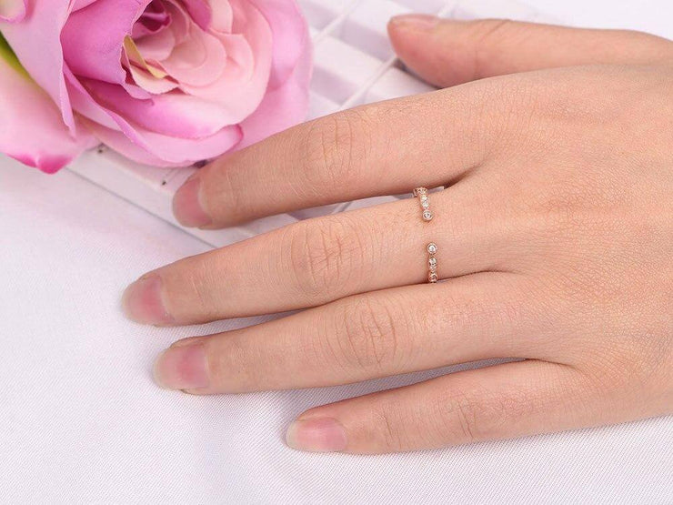 0.25 Carat Open top Trendy Diamond Wedding Ring Wedding Band Anniversary Ring in 10k Rose Gold