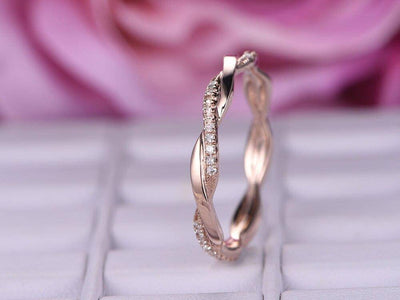 0.50 Carat 10k Rose Gold Wedding Band with Diamonds Anniversary Ring Stackable Twisted Band