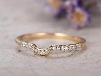 0.25 Carat Band Wedding Band with Diamonds Anniversary Ring Curved U Design Antique Style Band