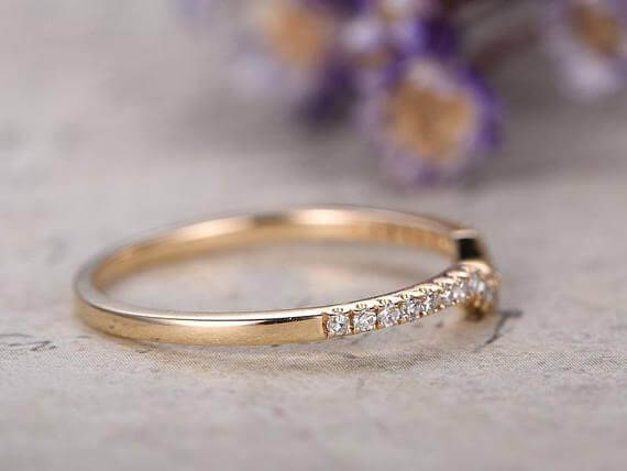 0.25 Carat 10k Rose Gold Wedding Band with Diamonds Anniversary Ring Curved U Design Antique Style Band