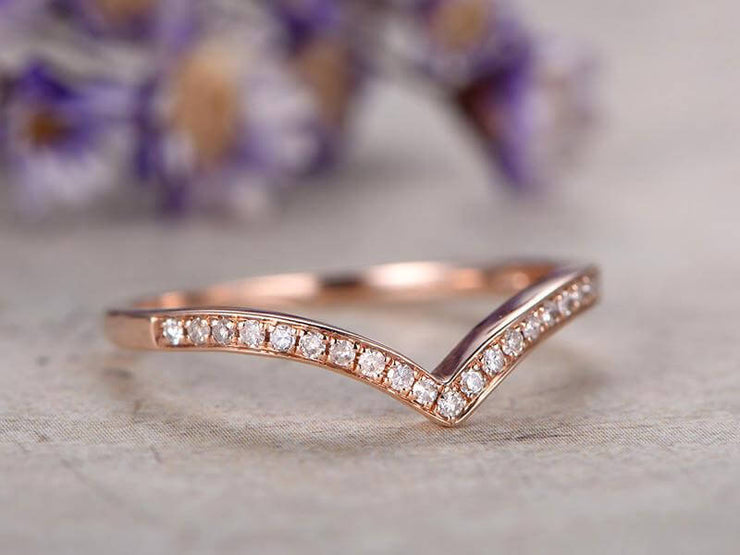0.50 Half Eternity Wedding Band 10k Rose Gold Beautiful Twist Curve Anniversary Wedding Band