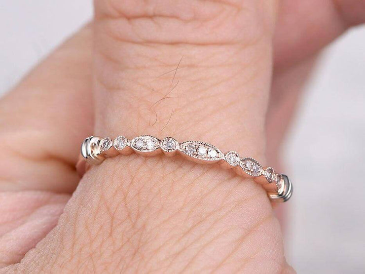 0.25 Carat Ring Anniversary Band in Flower Design Antique Style