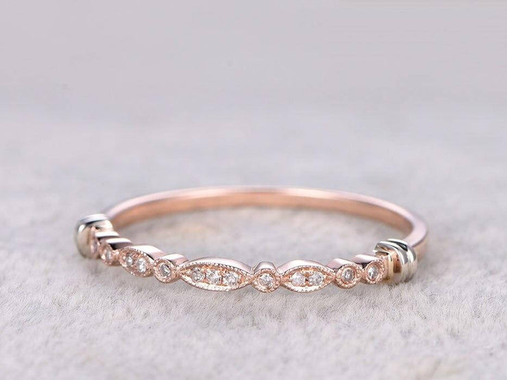 0.25 Carat 10k Rose Gold Anniversary Band in Flower Design Antique Style
