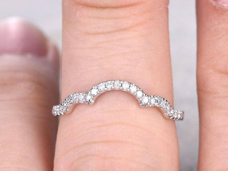 0.50 Carat 10k White Gold Wedding Band Wedding Ring Curved Desgin with Diamonds Anniversary Ring