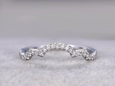 0.50 Carat Ring Wedding Band Wedding Ring Curved Desgin with Diamonds Anniversary Ring