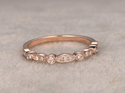 0.50 Half Eternity Wedding Ring 10k Rose Gold Beautiful Twist Curve Wedding Ring Band