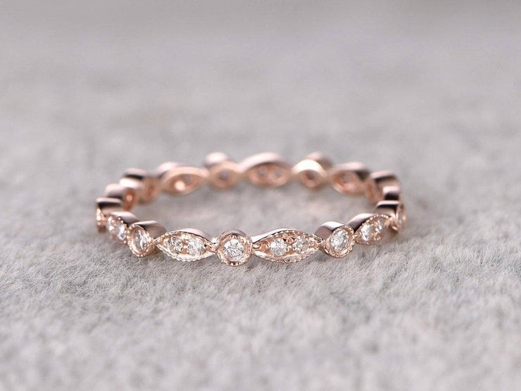 0.50 Carat 10k Rose Gold Wedding Band with Diamonds Anniversary Ring Milgrain Design Art Deco