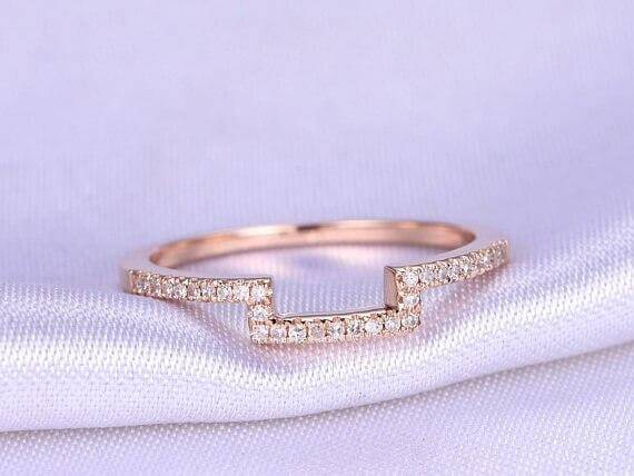 0.50 Carat Wedding Band with Diamonds Anniversary Ring Curved Stretch Design Antique Style Band