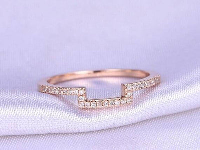 0.50 Carat 10k Rose Gold Wedding Band with Diamonds Anniversary Ring Curved Stretch Design Antique Style Band