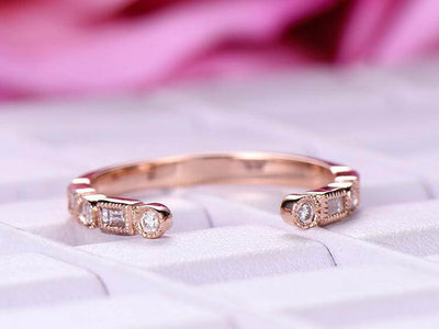 0.25 Carat Half Eternity Wedding Band 6mm Open gap wedding Band Round cut Moissanite bridal diamond ring Stackable ring