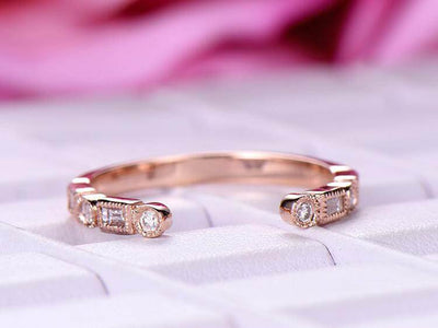 0.25 Carat Moissanite bridal Half Eternity Wedding Band 6mm Open gap wedding Band Round cut in Silver with 18k Rose Gold Plating