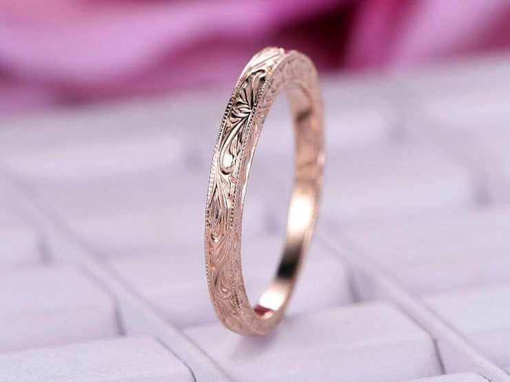 Solid 10k Infinity Eternity Wedding Ring Antique Art Deco Design Anniversary Ring Bridal Ring