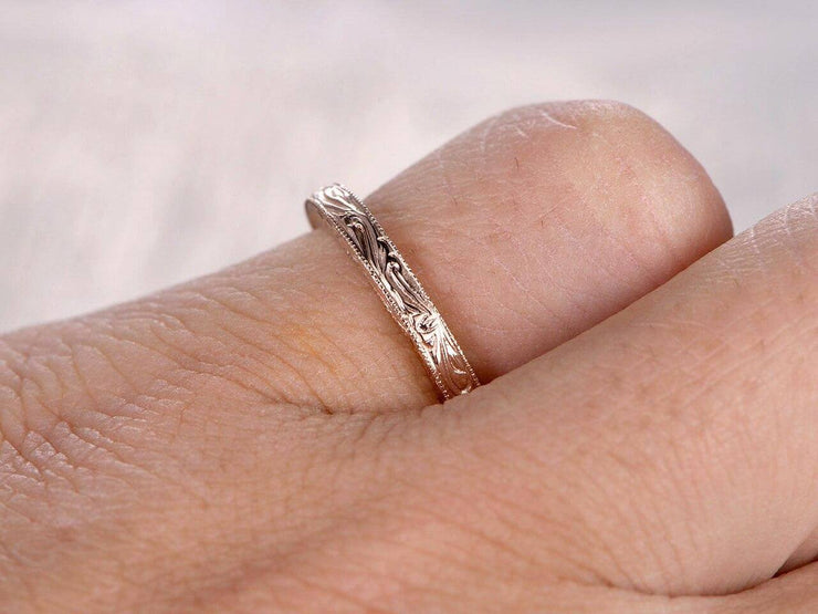 Infinity Eternity Wedding Ring Antique Art Deco Design Anniversary Ring Bridal Ring in Silver and 18k Rose Gold Plating