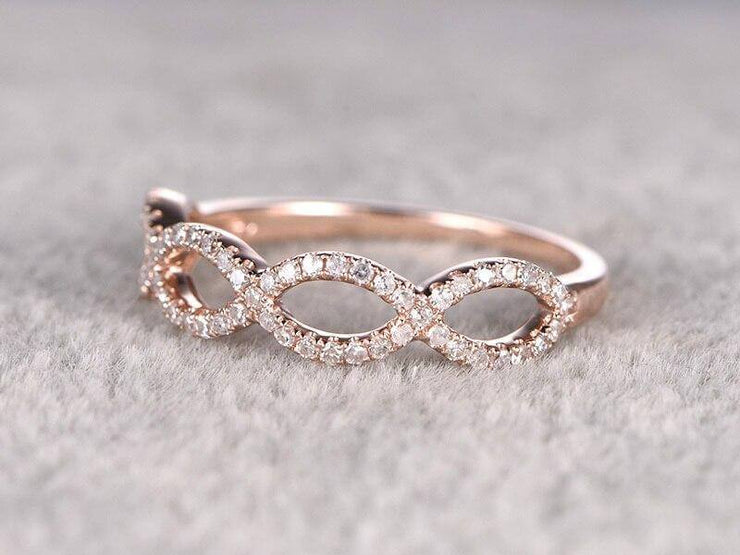 0.50 Carat Wedding Ring Curved Loop Flower Floral Stackable Band