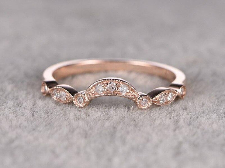 0.25 Carat Wedding Band with Diamonds Anniversary Ring Flower Design Antique Style Band