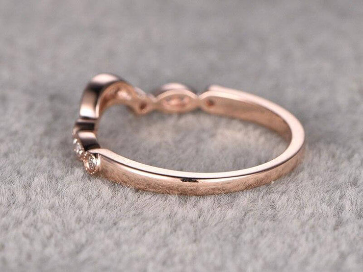 0.25 Carat 10k Rose Gold Wedding Band with Diamonds Anniversary Ring Flower Design Antique Style Band