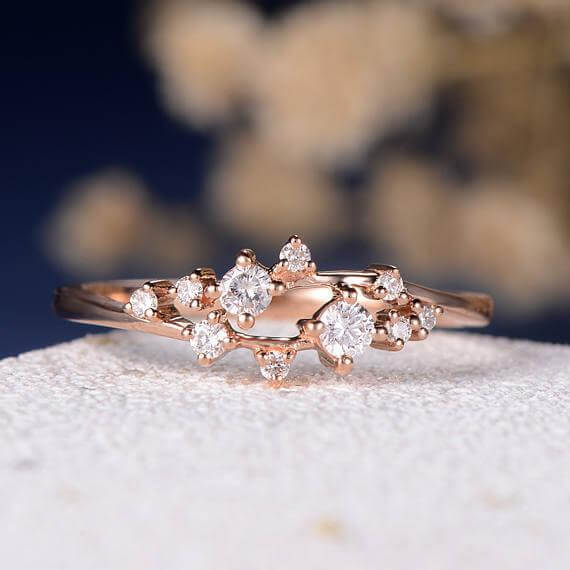 0.50 Carat Moissanite Cluster Ring Twig Engagement Ring Floral Unique Wedding Band Snowflake Design