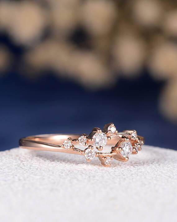 0.50 Carat Moissanite Cluster Ring Twig Engagement Ring Floral Unique Wedding Band Snowflake Design in Silver with 18k Rose Gold Plating