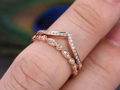 1.00 Carat 2 pcs Diamond Wedding Ring Set Stacking Curved Design Art Deco anniversary band set