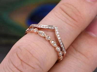 Art Deco 1.00 Carat 2 pcs Diamond Wedding Ring Set Stacking Curved Design anniversary band set in Silver with 18k Rose Gold Plating