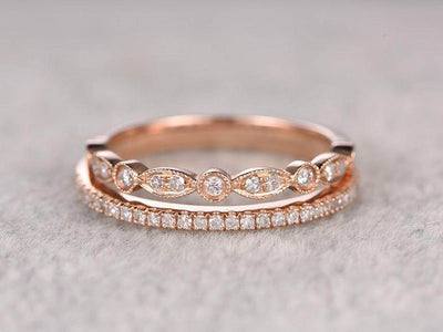 1.00 Carat 2 pcs Diamond Wedding Ring Set Stacking Curved Design art deco Ring set in Silver and 18k Rose Gold Plating