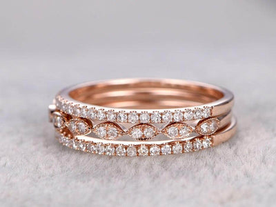 1.50 Carat 3 wedding Ring set Wedding Band Stackable Ring set 10k Rose Gold