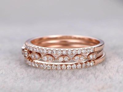 1.50 Carat 3 wedding Ring sets Wedding Band Stackable Ring sets