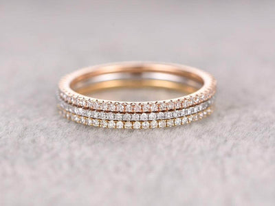1.50 Carat 3 wedding Ring set Straight Wedding Band Stackable Ring set 10k Rose Gold and White Gold