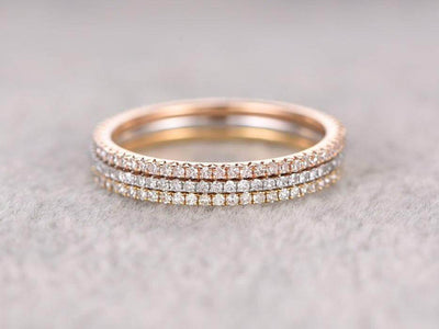 1.50 Carat 3 wedding Ring set Straight Wedding Band Stackable Ring set